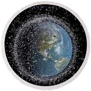 Round Beach Towel featuring the photograph Space Junk by Science Source