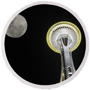 Space Needle Round Beach Towel by David Gleeson