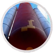 Space Shuttle Fuel Tank And Boosters Round Beach Towel