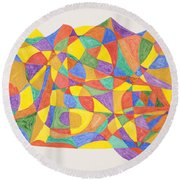 Round Beach Towel featuring the painting Space Craft by Stormm Bradshaw