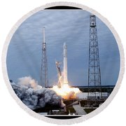 Spacex-2 Mission Launch Nasa Round Beach Towel