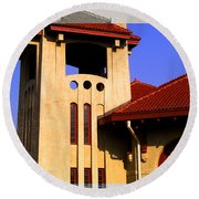 Spanish Architecture Tile Roof Tower Round Beach Towel