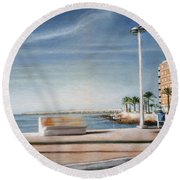 Spanish Coast Round Beach Towel
