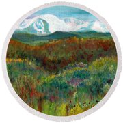 Spanish Peaks Evening Round Beach Towel
