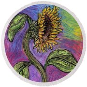 Spanish Sunflower Round Beach Towel by Sarah Loft