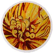 Sparkling Intricate Golds And Yellows - A Floral Ceramic Tile Mosaic Round Beach Towel