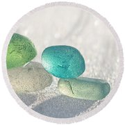 Sparkling Sea Glass Friends Round Beach Towel by Barbara McMahon