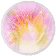 Round Beach Towel featuring the photograph Sparkling Starlight Burst Abstract by Judy Palkimas