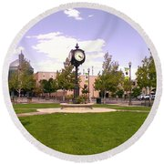 Round Beach Towel featuring the photograph Sparks Community Clock by Bobbee Rickard