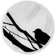 Round Beach Towel featuring the drawing Sparrow In A Gray Sky by D Hackett