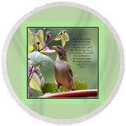 Sparrow Inspiration From The Book Of Luke Round Beach Towel