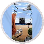 Round Beach Towel featuring the painting Species Differentiation -darwinian Broadcast- by Ryan Demaree