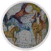 Round Beach Towel featuring the painting Speckled Horses by Avonelle Kelsey