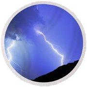 Spectacular Double Lightning Strike Round Beach Towel