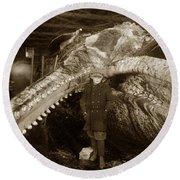Sperm Whale Taken At Moss Landing California  On January 22 1919 Round Beach Towel
