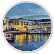 Spetses Town During Dusk Time Round Beach Towel