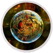 Sphere Of Refractions Round Beach Towel by Robin Moline