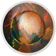Sphering Lunar Vibrations Round Beach Towel by Robin Moline