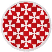 Spice Twirl- Red And White Pattern Round Beach Towel