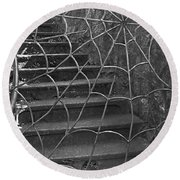 Round Beach Towel featuring the photograph Spider And Web Iron Gate Art Prints by Valerie Garner