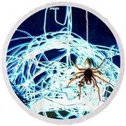 Round Beach Towel featuring the digital art Spider by Daniel Janda