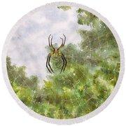 Spider In Web #2 Round Beach Towel
