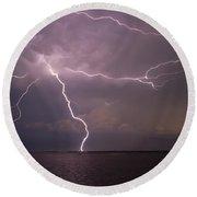 Spider Lightning Over Charleston Harbor Round Beach Towel