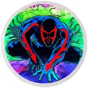 Round Beach Towel featuring the drawing Spider-man 2099 Illustration Edition by Justin Moore