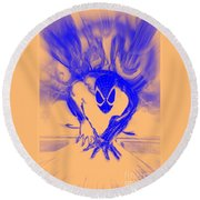 Round Beach Towel featuring the digital art Spider-man T B Blast by Justin Moore
