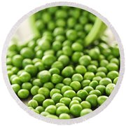 Spilled Bowl Of Green Peas Round Beach Towel