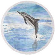 Spinner Dolphin Round Beach Towel by Pamela  Meredith