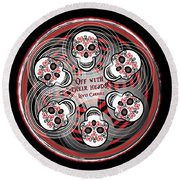 Spinning Celtic Skulls Round Beach Towel