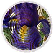 Spiral Iris Round Beach Towel