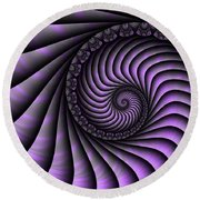 Spiral Purple And Grey Round Beach Towel