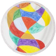 Round Beach Towel featuring the painting Spiral Spacesuit by Stormm Bradshaw