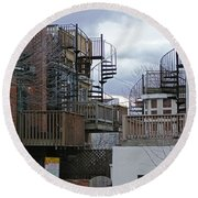 Round Beach Towel featuring the photograph Spiral Stairs by Brian Wallace