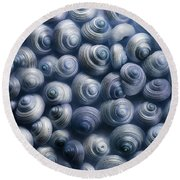 Spirals Blue Round Beach Towel