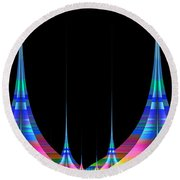 Round Beach Towel featuring the digital art Spires by GJ Blackman