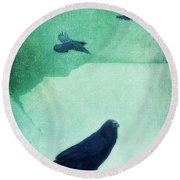 Spirit Bird Round Beach Towel by Priska Wettstein