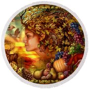 Spirit Of Autumn Round Beach Towel