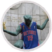 Spirit Of Detroit Piston Round Beach Towel