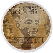 Spirit Of Nefertiti Egyptian Queen   Round Beach Towel