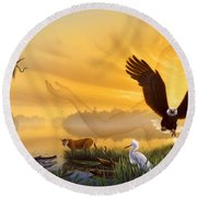 Spirit Of The Everglades Round Beach Towel