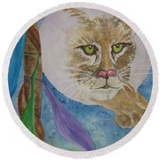 Round Beach Towel featuring the painting Spirit Of The Mountain Lion by Ellen Levinson