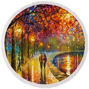 Spirits By The Lake - Palette Knife Oil Painting On Canvas By Leonid Afremov Round Beach Towel