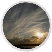 Spirits Flying In The Sky Round Beach Towel