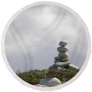 Spiritual Rock Sculpture Round Beach Towel
