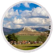 Round Beach Towel featuring the photograph Spissky Hrad - Castle by Les Palenik