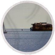 Spitbank Fort Martello Tower Round Beach Towel