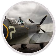 Spitfire On Display Round Beach Towel